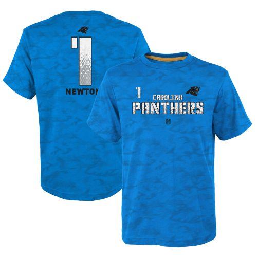 Youth Carolina Panthers Cam Newton Blue Vector Camo Dri Tek Name