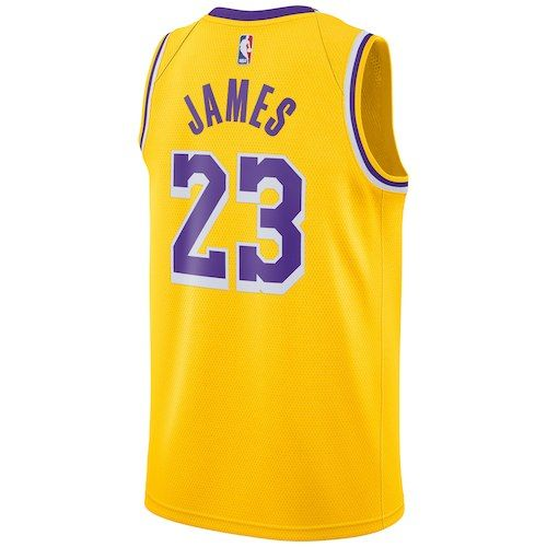 80fdccd8d267 Los Angeles Lakers LeBron James Gold 2018 19 Swingman Jersey - Icon ...